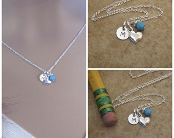 Tiny Initial and Heart necklace - Girl's Initial, Birthstone Necklace in Sterling Silver - Photo NOT actual size