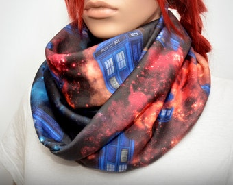 Colorful infinity scarf with galaxy Doctor Who tardis print