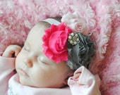 Pink hot pink and grey triple shabby flower headband... infant, baby, little girl birthday headband...photo prop