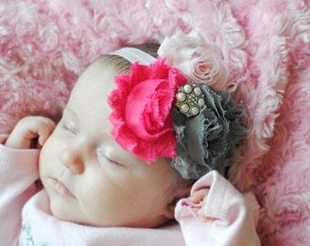 Pink hot pink and grey triple shabby flower headband... infant, baby, little girl birthday headband...photo prop