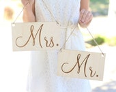Mr & Mrs Wedding Chair Signs Rustic Barn Wedding Engraved Wood Sign QUICK shipping available