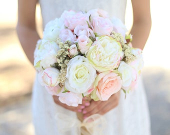 Silk Bride Bouquet White Cream Pale Pink Roses Peonies Wildflowers Natural Bouquet Shabby Chic Vintage Inspired Rustic Wedding