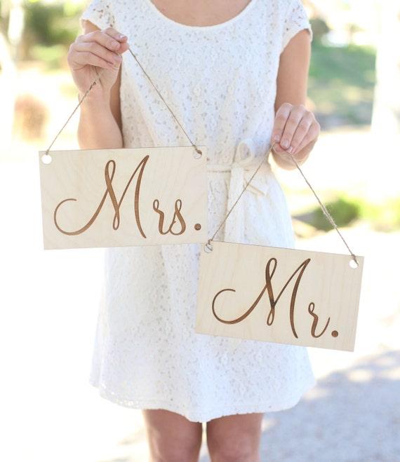 Custom Wedding Accessories Mr Amp Mrs Wedding Chair Signs Rustic Barn Wedding Engraved Wood Sign