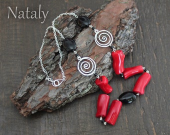 Sterling Silver Spiral Necklace with Coral and Onyx Beads