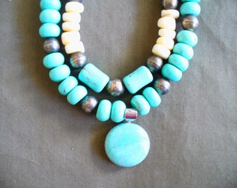 Turquoise Howlite and Bone Necklace, Set of Necklaces, Turquoise and White, Egyptian style