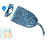 Blue Sock Monkey Hat and Cocoon with Tail for Newborn Babies READY to SHIP Handmade Photo Prop