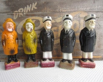 Vintage Old Salty and Cap'n Captain Pepper Plastic Shakers made in Hong Kong
