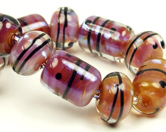 SRA Lampwork Glass Bead Set Purple Blue Iridescent 'Purple Dawn'