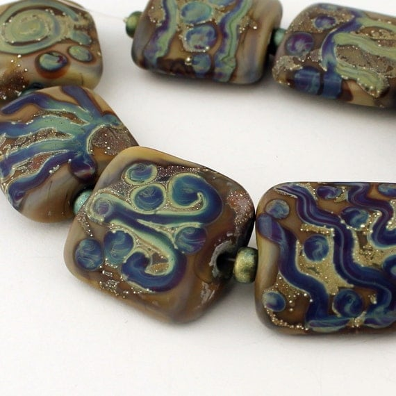 Lampwork Glass Bead Set - Nugget Shape Blue Green Brown Silver Etched 'Tribal Designs'