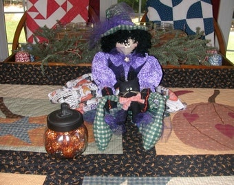 Primitive One of a Kind Vintage Hand Made Lil Halloween Witch Doll Black Cat Pumpkin Jar Trick or Treat Ready