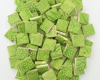 100 Handmade APPLE GREEN SQUARE Ceramic Tiles