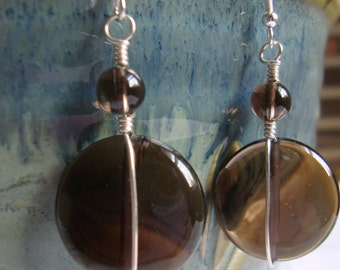 FREE SHIPPING Smokey Crystal Quartz Sterling Silver Earrings