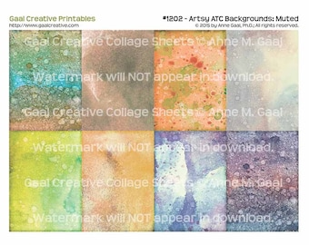 INSTANT DOWNLOAD Printable ATC Backgrounds #1202 Muted