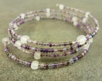 Purple Punch Bracelet Czech Glass and Memory Wire Bracelet Plum Crystal Metallic Purple