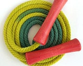 Hand-dyed jump rope, chartreuse and forest green with red wooden handles
