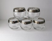 Mid Century Roly Poly Bar Glasses, Silver Rims Dorothy Thorpe Style