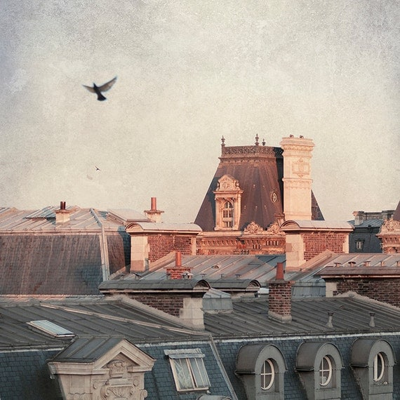 Paris Photo - Paris Dawn, Hotel de Ville - Rooftops of Paris,  Fine Art Travel Photograph, Large Wall Art