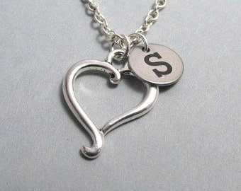 Heart Outline Charm Necklace, Heart Keychain, Silver Plated Charm, Engraved, Personalized, Monogram