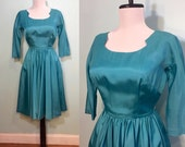 ON SALE Vintage 1960's Turquoise Party Dress Size Extra Small