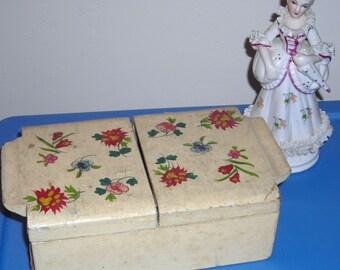 Vintage Sewing Box ....Painted Wood Sewing Box and Sewing Notions.....RU1
