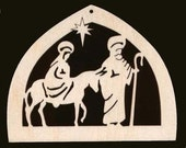 On the ROAD to BETHLEHEM 6 Piece Christmas Ornament Set 4 inches wide Unfinished Craft Wood Cutouts 1200-4