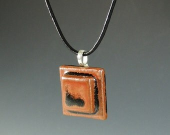 Square Brown and Black Pendant / Handemade Jewelry / Stoneware Clay Pendant / Jewelry Supplies / Necklace