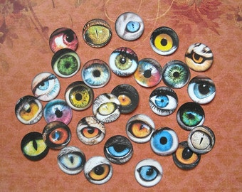 30 STICKERS- THREE different styles- One inch eye CIRCLES eye jewelry magnets bottle caps Eye images Alice in Wonderland stickers steampunk