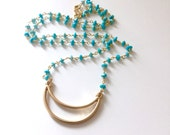 Sleeping Beauty Necklace Hand Beaded Sleeping Beauty Turquoise Gemstone Necklace with Open Gold Crescent Moon