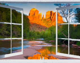 Wall mural window, self adhesive, Sedona, open window view-3 sizes available-Cathedral Rock- office decor - free US shipping