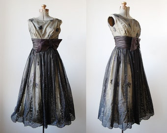 1950's Aurora Borealis Dress • 1950's Cocktail Dress • Hollywood Glam