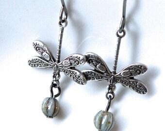 Dragonfly earrings, silver or brass  dragonfly dangles, vintage dragonfly drop earrings, czech glass dragonfly earrings, Victorian earrings