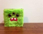 Fluorescent Green Monster Wallet- Three Yellow Eyes