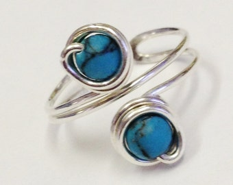 Turquoise Ring  Turquoise Gemstone Ring   Sterling Silver Toe Ring  Adjustable Silver Ring  December Birthstone