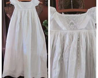 "Baby Dress Antique Victorian Ivory 38"" Long Baby Christening Gown Dress"