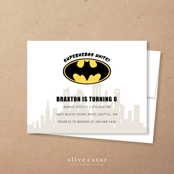 batman kids birthday invitation set baby shower gotham city