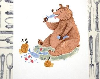 Hungry Bear Illustration Print