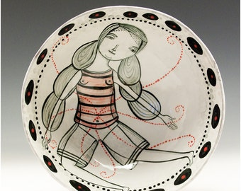 Footed Bowl - Lets Wonder - A Painted Bowl by Jenny Mendes