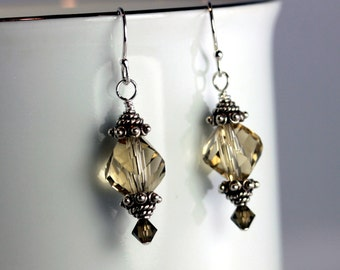 Tan Twist Crystal & Bali Silver Earrings