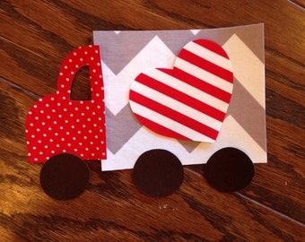 Valentine Truck Iron On Applique, You Choose Fabric