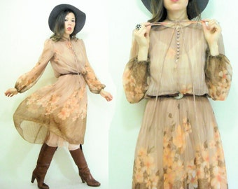 Taupe Blush 70's Peach Floral Chiffon Miss Elliette Micro Pleated Midi Dress / Full Skirt / Scarf Print / Poet Sleeve