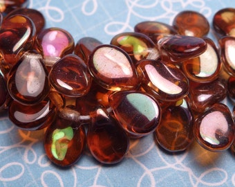Amber with Copper AB Glass Teardrops 7x5mm - 20pc