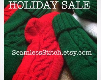 SALE: Hand Knit Christmas Stockings, 17x6
