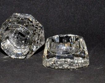 Three Octagonal Cut Glass Salt Cellars