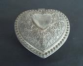 Vintage Silvertone Ornate Heart Shape Jewelry Box