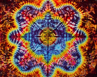 77x58 Large Tie Dye Tapestry by Emeraldsprings wallhanging handmade Rainbow yellow orange green blue