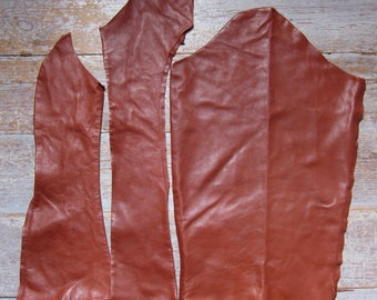Tan Leather, 3 Pieces, Rich Chestnut, Brown Hide Remnants,Soft & Aged Suede, DIY Crafts / Sewing, Eco Friendly, Recycled Skin, Free Shipping