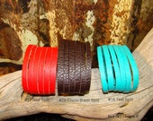 """Set of 3 ~ Leather Split Cuffs - -  1  1/2 x 9""""  Split Leather Supply - Ultra Soft Leather Bracelets - Over 80 Colors of Leather"""