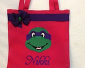 Personalized Tote Bag, Personalized Tote, Ninja Turtles Tote Bag, Turtles Tote, Ninja Turtles Gift, Personalized Turtles, TMNT gift