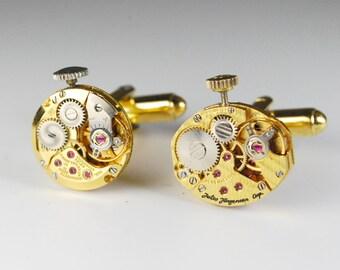 Steampunk Cufflinks Vintage Jules Jurgensen Gold Watch Movement Mens Gear Cuff Links by Steampunk Vintage Design