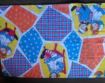 Patchwork Raggedy Ann and Andy Pillowcase  - Reclaimed Bed Linens